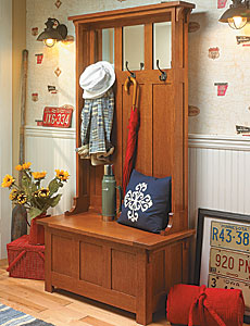 High-Back Hall Bench Woodworking Plan
