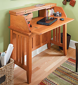 computer desk woodworking plan