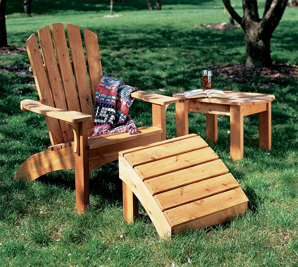 Adirondack Chair, Ottoman and Table