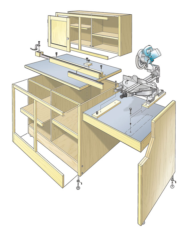 Miter Saw Workcenter Woodworking Plan